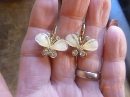 Vintage Butterfly Faux Mother of Pearl AB Gold Tone Earrings Pierced Dro... - $12.19