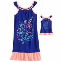 Girl 4-14 and Doll Matching Unicorn Nightgown Clothes ft American Girl D... - $16.99
