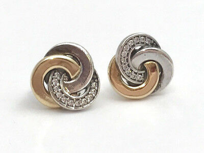 Primary image for Authentic Pandora Interlinked Circles Stud Earrings w/ 14K  290741CZ, New