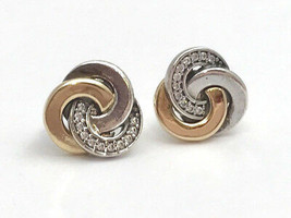 Authentic Pandora Interlinked Circles Stud Earrings w/ 14K  290741CZ, New - $81.69
