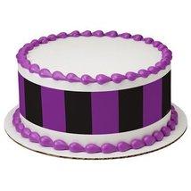 "6"" Round Purple and Black Bold Stripes Cake Designer Strips Edible Cake ... - $9.99"