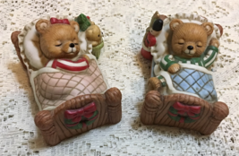 "Vintage Homco ""Sugar Plums Dancing"" Christmas Bears Bisque Porcelain Fig... - $12.00"