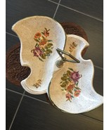 USA Ceramic Candy Serving Dish Metal Handle Floral Design Pattern Potter... - $18.75
