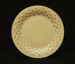 "Gibson China 7-3/4"" Salad Plate White w Gold Dots & Rim Quilted Dinnerware - $14.84"