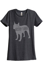 Thread Tank Boston Terrier Dog Silhouette Women's Relaxed T-Shirt Tee Charcoal G - $24.99+