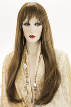 Piano Stripe Dk. Brn. Straw. Auburn Brunette Long Premium Remy Human Hair Wigs - $749.42