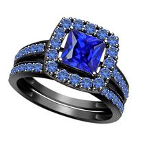 Princess Cut Sapphire Womens Engagement Ring Bridal Set Black Gold Fn 92... - $97.13