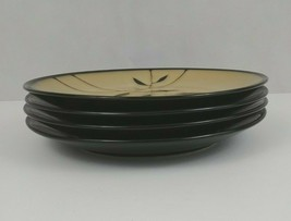Gibson Elite Set of 4 plates With Leaf Design Pale Green With Black Leaves - $23.36