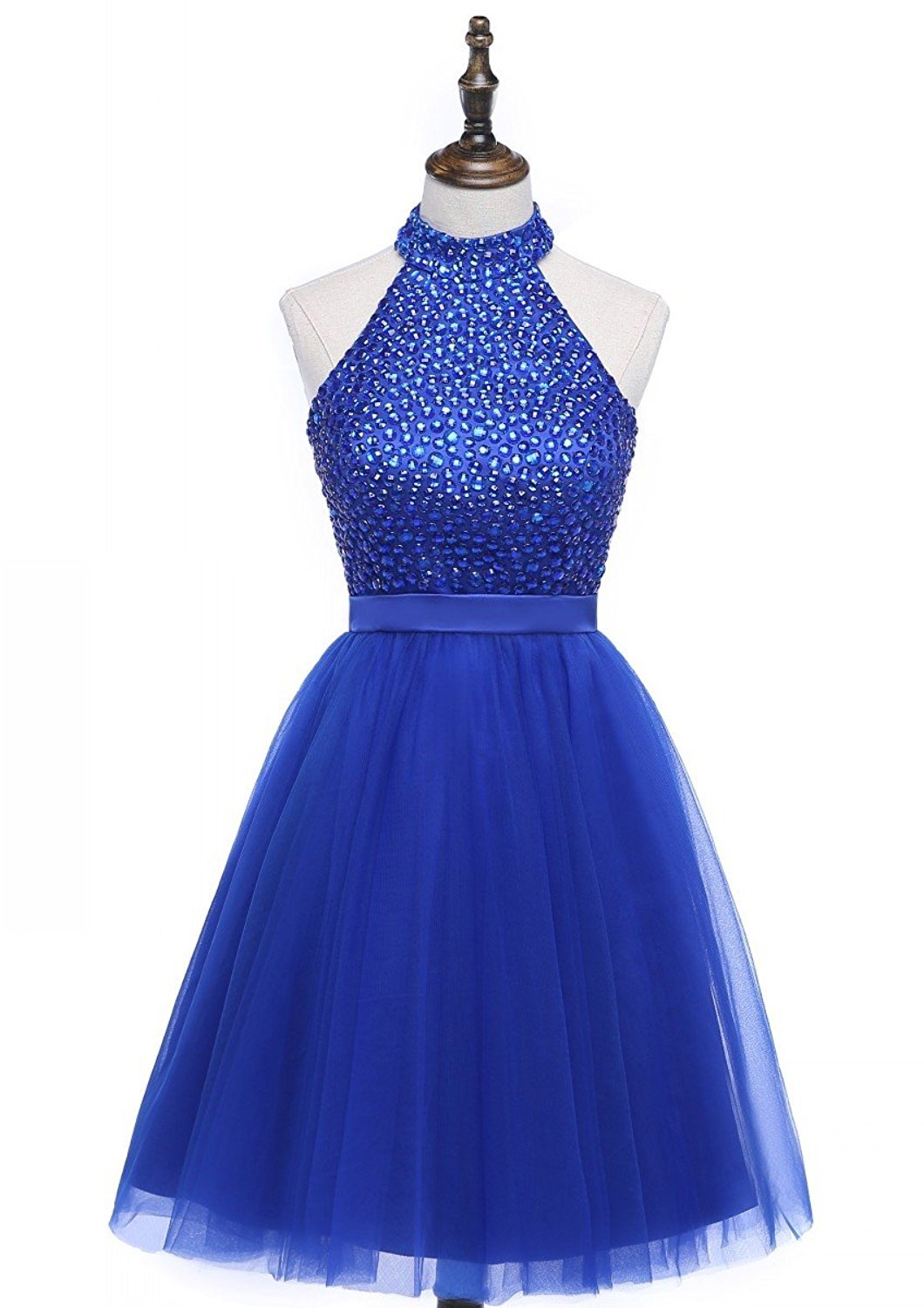 Primary image for 2018 Beading Keyhole Back Homecoming Dresses Halter Beaded Prom Gowns Short