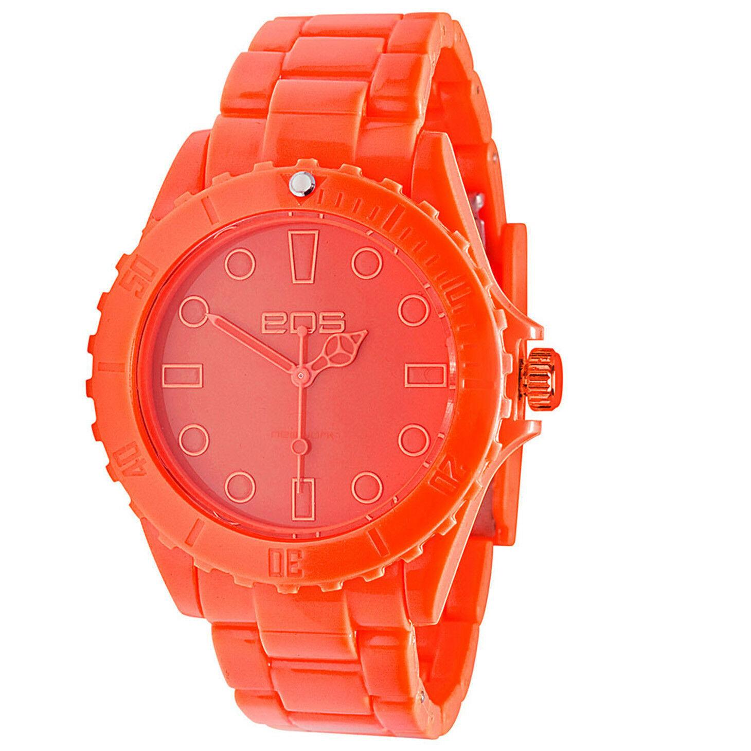 EOS New York Unisex Marksmen Plastik Orange Quarz Analog Uhr #359SORG Neu Ovp