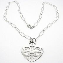 Halskette Silber 925, Kette Oval, Herz Gerade Perforiert, Anhänger image 1