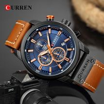 Curren Sport Quartz Top Brand Men's Sports Military Watches Chronograph Leather  - $44.31