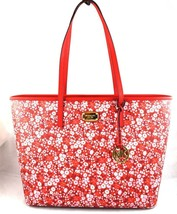 AUTHENTIC NEW NWT MICHAEL KORS $328 EMRY RED WHITE PINK FLORAL LG TOP ZI... - $2.259,05 MXN