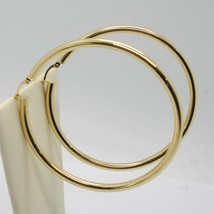 18K YELLOW GOLD ROUND CIRCLE EARRINGS DIAMETER 60 MM, WIDTH 3 MM, MADE IN ITALY image 2