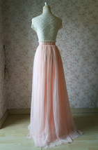 Women Blush Tulle Skirt Full Long Tulle Skirt, Blush Pink, High Waisted, Wedding image 5