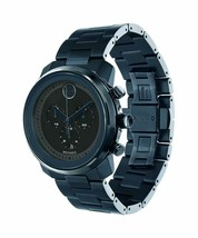 Movado Men's 3600279 'Bold' Chronograph Blue Stainless Steel Watch - $574.20