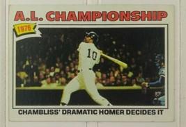Topps Baseball Card 1976 A.L. Championship Card #276 Chambliss Home Run  - $10.00
