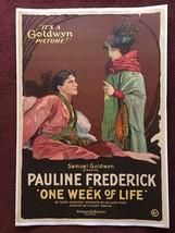 ONE WEEK OF LIFE (1919) One-Sheet Poster Pauline Frederick Goldwyn Silen... - $720.00