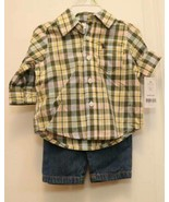 Carter's Boys 2 piece Collar Plaid Shirt & Blue Jeans Pants Elastic Wais... - $18.76