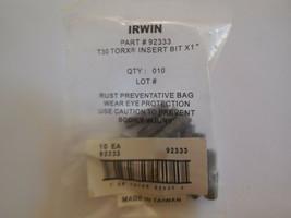 "Irwin 92333 1"" Long 1/4"" Shank Insert Torx T30 Screwdriver Bit Pack of 10 - $19.79"