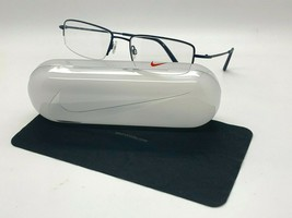 NEW NIKE 8179 410 BLUE  OPTICAL HALF RIMLESS Eyeglasses 55-19-140MM /CASE - $58.17