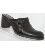 Liz Claiborne Flex 'Mayfay' brown leather round toe slip on clog heel 6M - $29.41