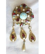 Baroque Glass Faux Turquoise with Red & Crystal... - $24.70