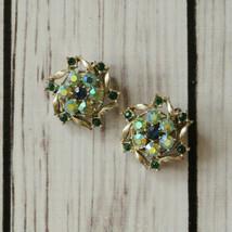 vintage rhinestone green flower clip earrings mid century midcentury swirl - $9.89