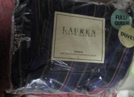 RALPH LAUREN STUDIO III PURPLE STRIPE FULL/QUEEN DUVET COVER SET 100%COT... - $349.90