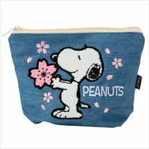 Snoopy Saga embroidery pouch Cherry Blossoms denim - $42.08