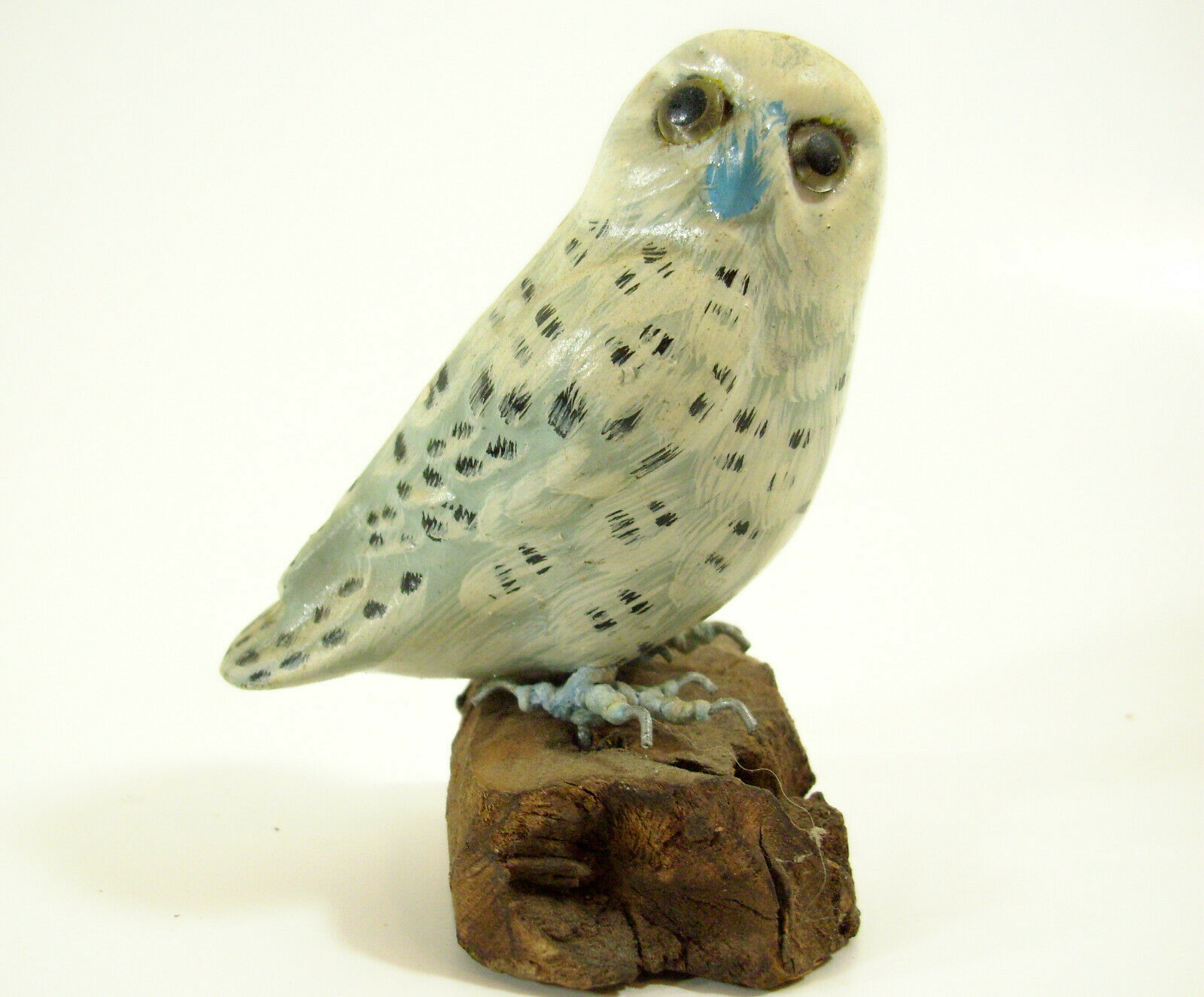Primary image for Snowy Owl Hand Painted Figurine Figure Enesco White on Driftwood 1989 Vintage