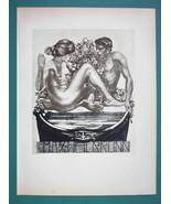 NUDE EX LIBRIS Young Lovers - 1922 Lichtdruck Print - $15.30