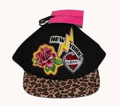 BETSEY JOHNSON Rose NEW YORK Leopard Appliqued Baseball Cap Hat NWT Wms ... - $19.99