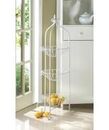 CORNER BASKET FLOOR STAND 3 Tier White Metal Kitchen Storage Rack - $34.95
