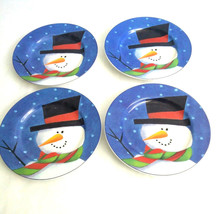 "The Sakura Table 4 ""Snowy Day"" Zulauf Designs 8.25"" Salad Plates Snowman... - $23.33"