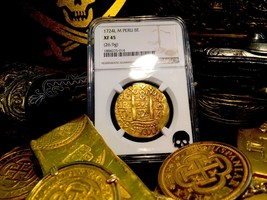 Peru 1724 8 Escudos Ngc 45 Only 1 Known King Philip V / King Luis I Gold Douboon - $14,500.00