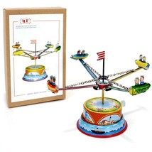 TIN TOY ROCKET RIDE Lever Action Carousel NEW Collectible Metal Litho Re... - $19.95