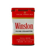 Vintage 1960's Winston Cigarette Tin Box Crush Proof Box Empty Made in USA - $37.95
