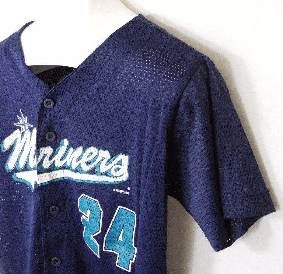 Vtg Ken Griffey Jr 24 Jersey Seattle Mariners True Fan Youth Large MLB