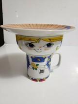 "1979 Leonard Boston, MA Farm Girl ""HOME GROWN"" 3 Pc Child's Set Mug, Bow... - $12.86"