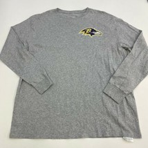 NFL T-Shirt Mens 2XL XXL Gray Long Sleeve Crew Neck Baltimore Ravens Graphics - $17.99
