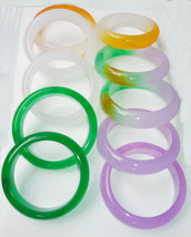 (1) Chinese Round (B) Jade Bangle Icy multi color 54-60x16x8mm 110 grams... - $29.70