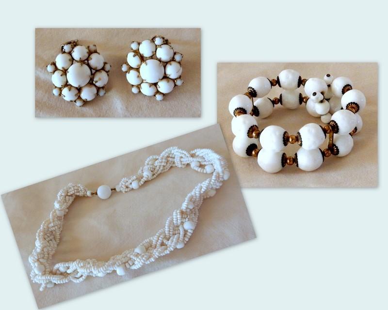 Vintage 4 Pieces of  Milk Glass Jewelry