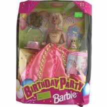 1998 Birthday Party Barbie Doll Mattel Blonde Pink Green Dress Cake Balloons - $18.46