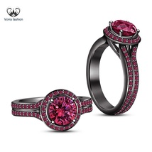 Round Cut Pink Sapphire Black Gold Plated 925 Silver Engagement Ring & F... - ₨7,206.27 INR