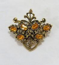 Vintage brooch pin gold tone yellow rhinestone glass jewelry - $20.17