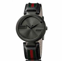 Gucci YA133206 Black Dial Leather Strap Gents Watch - $960.99