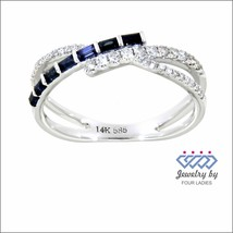 Real Diamond Designer Twisted Ring Jewelry 14K White Gold 0.26CT Blue Sa... - $1,379.00
