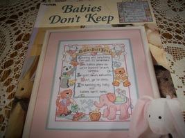 Babies Don't Keep Cross Stitch Chart Leisure Arts Leaflet 3119 - $7.00
