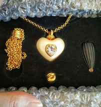 Joan Rivers Pearlized Heart w/Swarovski Crystal on Double Rolo Chain + 2... - $43.99